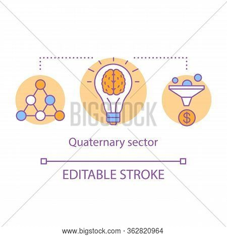 Quaternary Sector Concept Icon. Knowledge Sector Idea Thin Line Illustration. Intellectual Activity,