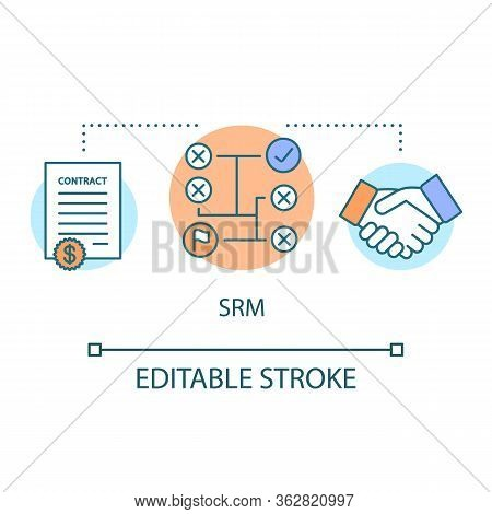 Srm Concept Icon. Supplier Relationship Management Idea Thin Line Illustration. Planning And Managin
