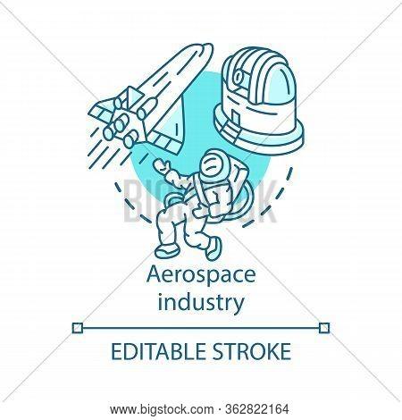 Aerospace Industry Concept Icon. Space Exploration. Spacecraft, Cosmonaut, Observatory. Cosmos Explo