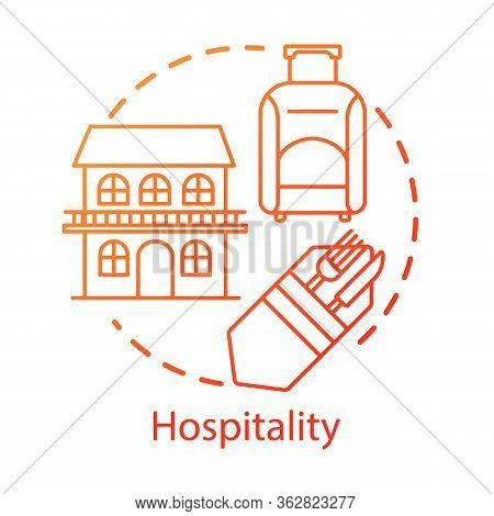 Hospitality Concept Icon. Lodging Industry. Restaurant And Hotel Service. Accommodation For Traveler