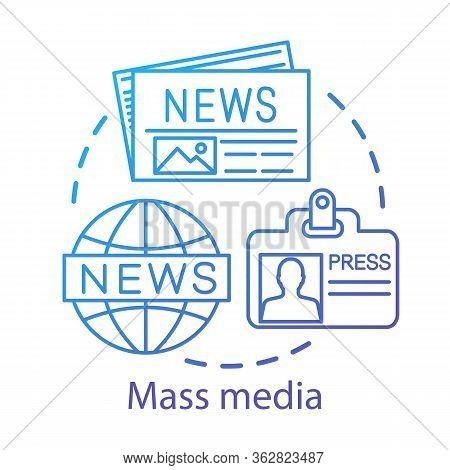 Mass Media Concept Icon. News Agency. Journalism. Information Channel. Review Of World Events. Newsp