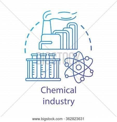 Chemical Industry Concept Icon. Industrial Chemicals Producing. Plant, Test Tubes, Molecule. Synthet