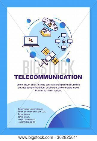 Telecommunication Industry Poster Template Layout. Tv Broadcasting. Banner, Booklet, Leaflet Print D