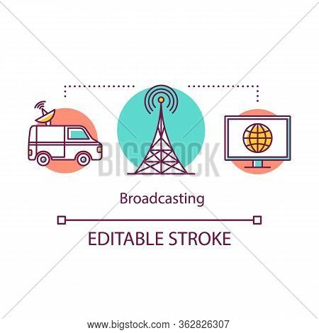 Broadcasting Concept Icon. Radio And Tv, Media Industry. Car, Tv Tower, Screen. Live Broadcast. Elec