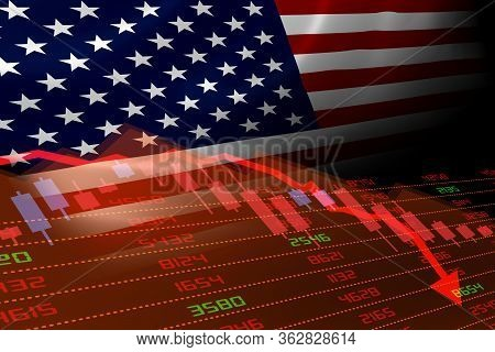 3d Rendering Of United States Economic Downturn With Stock Exchange Market Showing Stock Chart Down