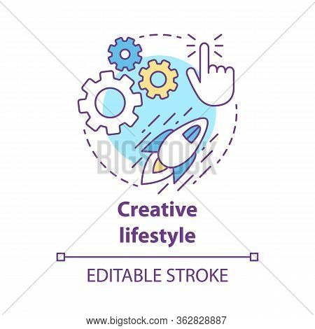 Creative Lifestyle Concept Icon. Brainstorming Idea Thin Line Illustration. Imagination And Original