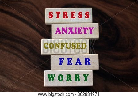Colorful Negative Single Word List On Wooden Blocks. Master Your Mind Concept From Stress, Anxiety,