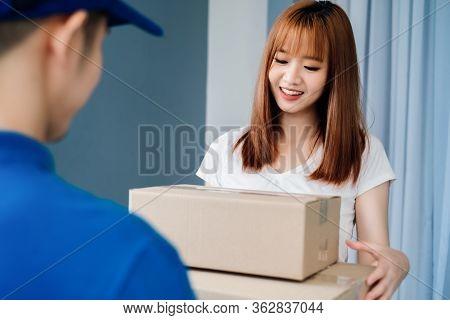 Door To Door Asian Deliveryman Express Sending Send A Package To Customer Receiver Picking Carton Sh