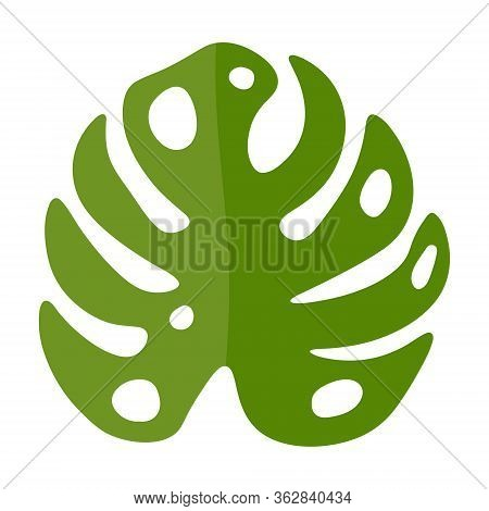 Vector Illustration Of Monstera Leaf In Flat Style. Tropical Leaf For The Design Of Summer Posters,