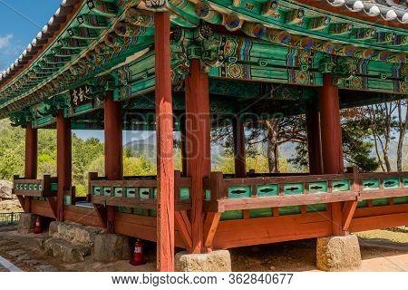 Jinan, South Korea; April 21, 2020: Taegojeong Pavilion Jeollabuk-do Cultural Heritage Material Numb