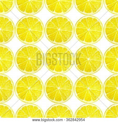 Watercolor Hand Painting Illustration Seamless Pattern Of Half Sliced Yellow Lemon Fruits Isolated W