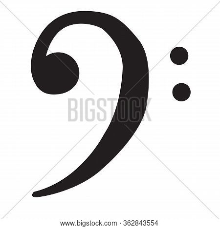 F Clef Icon On White Background. Flat Style. Bass Clef Icon For Your Web Site Design, Logo, App, Ui.
