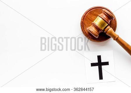 Catholic Cross - Catholicism Religion Concept - Near Gavel On White Background Top View. Religious C