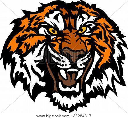 Cabeza de Tigre mascota gráfica gruñona