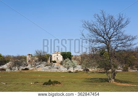 The Ruin Of An Old Stone House On The Island Cres (croatia) On A Sunny Day In Spring
