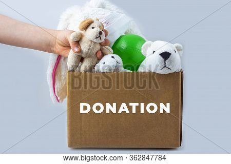 Donation Box With Kids Toys. Volunteer Support For The Poor And Needy During Coronavirus Quarantine.
