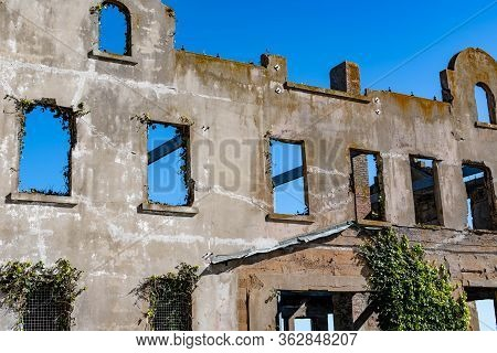 Remains Of The Ruined Wardens House In Alcatraz Island Prison San Francisco California. This Is Resi