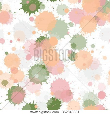 Watercolor Paint Transparent Stains Vector Seamless Grunge Background. Colored Ink Splatter, Spray B
