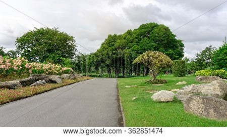 Good Care Landscapes Public Park And Garden Design, Asphalt Road In Gardens Decorated With Stone And