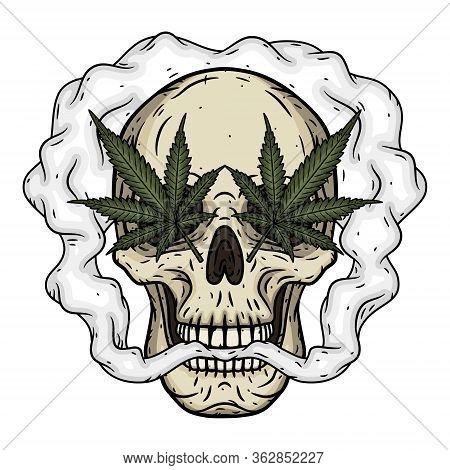 Skull. Skull With Marijuana Leaves. Rastaman Skull With Cannabis Leafs And Joint
