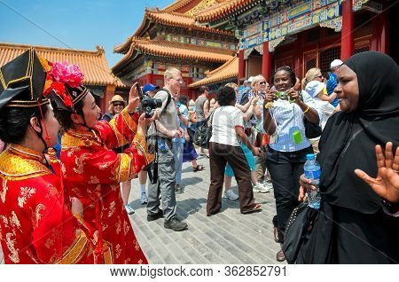 Beijing, China - May 24 2013: Tourists Visit The Forbidden City Palace Complex. This Palace Museum I