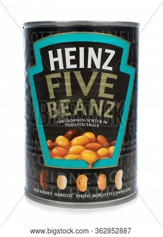 Niedersachsen, Germany April 23, 2020: A Tin Of Heinz Five Beanz Baked Beans On A White Background