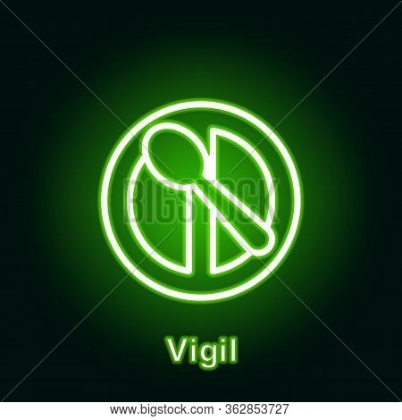 Ramadan Vigil Outline Neon Icon. Element Of Ramadan Day Illustration Icon. Signs And Symbols Can Be