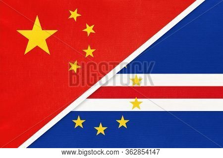 China Or Prc Vs Cape Verde National Flag From Textile. Relationship Between Asian And African Countr