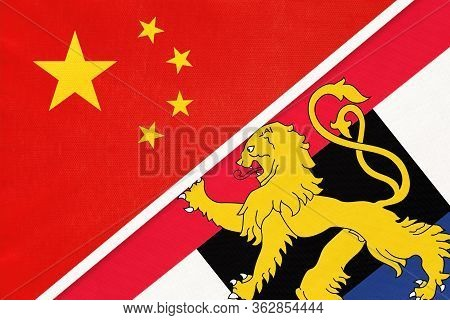 China Vs Benelux National Flag From Textile. Cooperation Of European Countries.