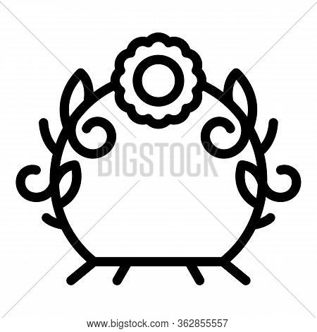 Flower Design Arch Icon. Outline Flower Design Arch Vector Icon For Web Design Isolated On White Bac