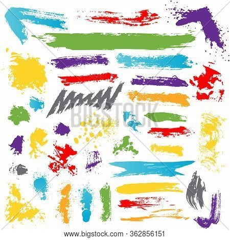 Collection Of Colorful Paint Brush Ink Blots, Splashes, Strokes, Lines. Set Of Freehand Drawing Arti
