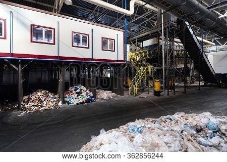 Grodno, Belarus - October 2018: Manual Waste Sorting Department At Modern Waste Plant With Conveyor
