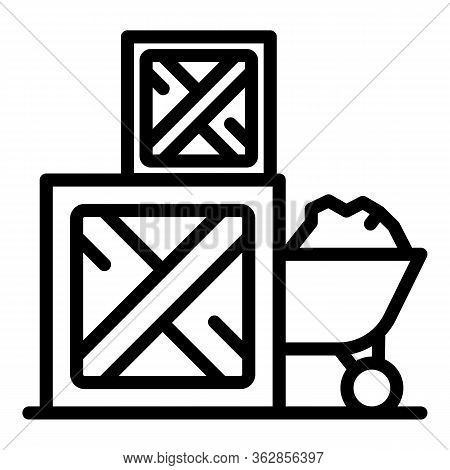 Farm Producer Box Icon. Outline Farm Producer Box Vector Icon For Web Design Isolated On White Backg