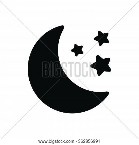 Black Solid Icon For Moon Moonlight Galaxy Heaven