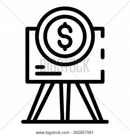 Flipchart And Dollar Sign Icon. Outline Flipchart And Dollar Sign Vector Icon For Web Design Isolate