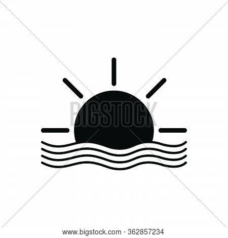 Black Solid Icon For Sun Beach Sunset Landscape Sunrise