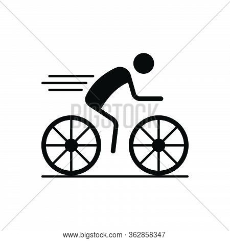 Black Solid Icon For Cycling Race  Cyclist