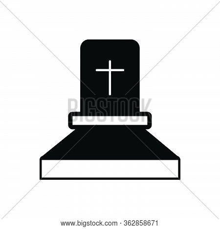 Black Solid Icon For Death Grave Rip Gravestone