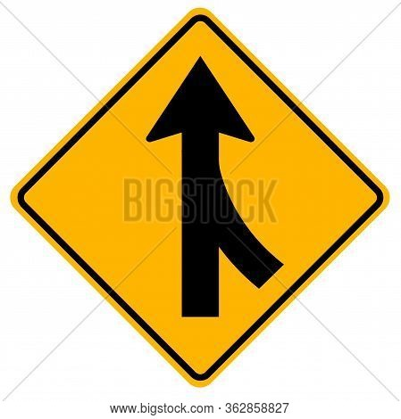 Warning Signs Merging Traffic ,watch For Cars From The Right On White Background