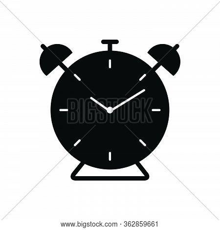 Black Solid Icon For Alarm Clock Alarmclock Alert