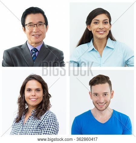 Happy Positive Young And Middle Aged People Isolated Portrait Set. Smiling Men And Women In Business