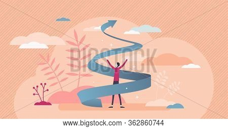 Growth Spiral Vector Illustration. Business Development Flat Tiny Persons Concept. Increase Career A