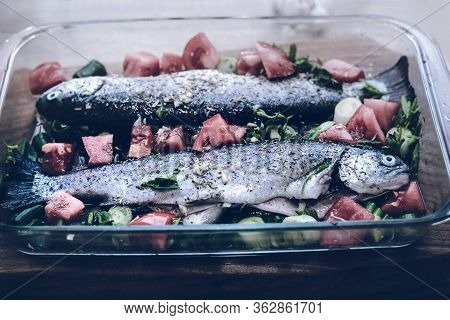 Trout Fish Food Background. Healthy Food. Vegetarian Food. Nutritious Food. Vegetable Food. Food. Fi