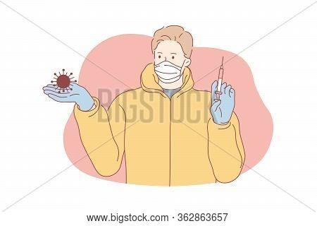 Coronavirus, Vaccine, Healthcare Concept. Young Man Or Boy Cartoon Character In Medical Face Mask Ho