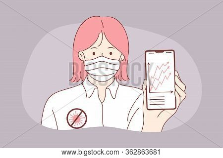 Statistics, Coronavirus, Danger Growth Concept. Young Woman Girl With Medical Face Mask Showing Covi