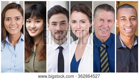 Happy Satisfied Diverse Professionals Portrait Set. Smiling Men And Women In Business Clothes Outsid