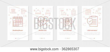 Vector Four Vertical Mobile Banners For Hotel Service - 04