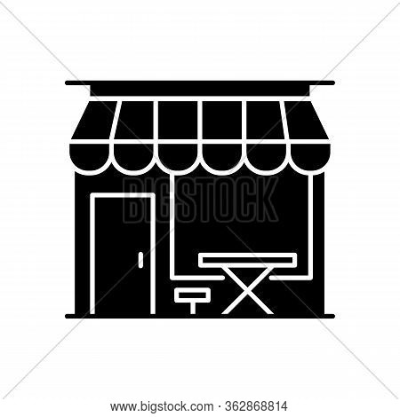 Cafe Front Black Glyph Icon. Coffeeshop Storefront. Cafeteria Exterior. Bistro Building With Awning.