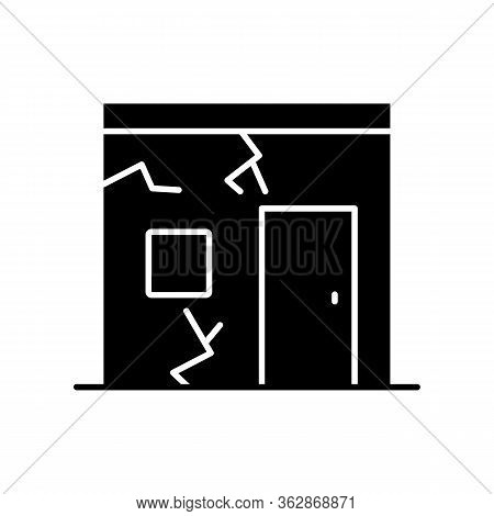 Slums Black Glyph Icon. Cracked Urban Construction. Poor Condition Of Residential Building. Poverty