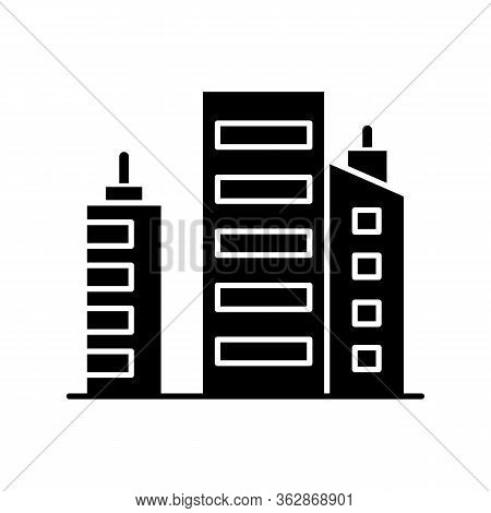 Business Building Black Glyph Icon. Multistorey Apartment Houses. Downtown District Constructions. C